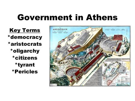 Government in Athens Key Terms *democracy *aristocrats *oligarchy *citizens *tyrant *Pericles.