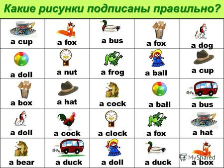 a bear a ball a bus a nut a froga busa cup a doll a boxa doll a fox a hat a box a fox a ball a duck a doll a dog a fox a clock a cock Какие рисунки подписаны.