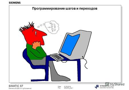Date:21.09.2014 File:GRAPH_03e.1 SIMATIC S7 Siemens AG 2000. All rights reserved. SITRAIN Training for Automation and Drives Программирование шагов и переходов.