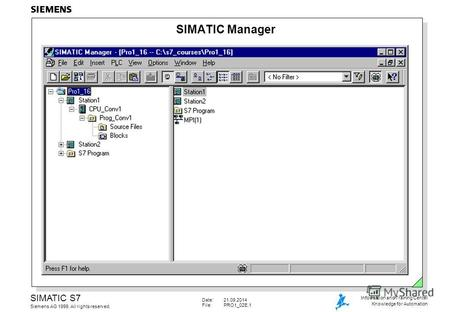 Date:21.09.2014 File:PRO1_02E.1 SIMATIC S7 Siemens AG 1999. All rights reserved. Information and Training Center Knowledge for Automation SIMATIC Manager.
