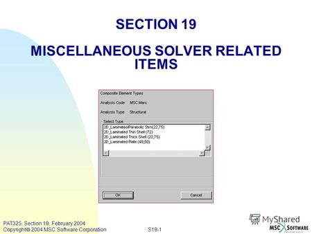 S19-1 PAT325, Section 19, February 2004 Copyright 2004 MSC.Software Corporation SECTION 19 MISCELLANEOUS SOLVER RELATED ITEMS.