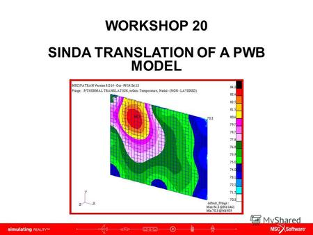 WORKSHOP 20 SINDA TRANSLATION OF A PWB MODEL. WS20-2 PAT312, Workshop 20, December 2006 Copyright 2007 MSC.Software Corporation.