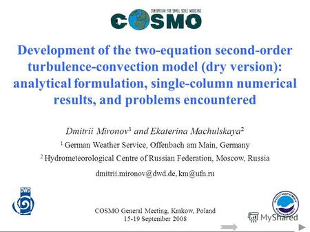 Development of the two-equation second-order turbulence-convection model (dry version): analytical formulation, single-column numerical results, and problems.