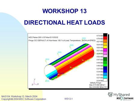 WS13-1 WORKSHOP 13 DIRECTIONAL HEAT LOADS NAS104, Workshop 13, March 2004 Copyright 2004 MSC.Software Corporation.
