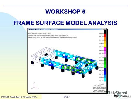 WS6-1 PAT301, Workshop 6, October 2003 WORKSHOP 6 FRAME SURFACE MODEL ANALYSIS.