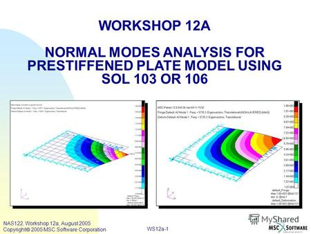 WS12a-1 WORKSHOP 12A NORMAL MODES ANALYSIS FOR PRESTIFFENED PLATE MODEL USING SOL 103 OR 106 NAS122, Workshop 12a, August 2005 Copyright 2005 MSC.Software.