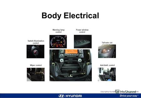 1 Body Electrical Copyright by Hyundai Motor Company. All rights reserved. Body Electrical Wiper control Switch illumination control Warning lamp control.