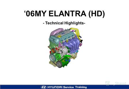 06MY ELANTRA (HD) - Technical Highlights-. 2 Introduction Powertrain Lineup EngineT/M GEN (May, 06) * East Europe (Aug, 06) NA, Aust. (July, 06) DOM (May,