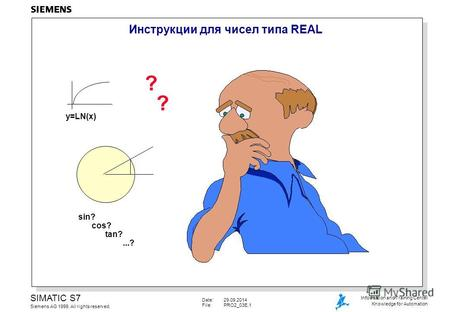 Date:29.09.2014 File:PRO2_03E.1 SIMATIC S7 Siemens AG 1999. All rights reserved. Information and Training Center Knowledge for Automation Инструкции для.