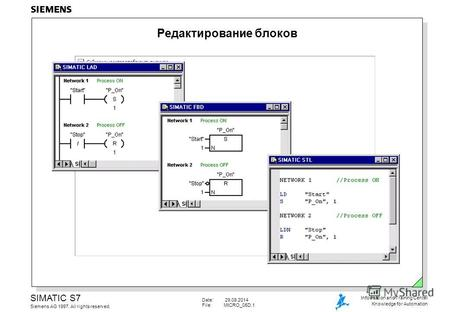 Date: 29.09.2014 File:MICRO_05D.1 SIMATIC S7 Siemens AG 1997. All rights reserved. Information and Training Center Knowledge for Automation Редактирование.