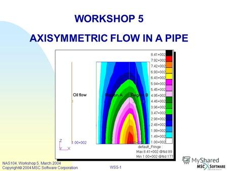 WS5-1 WORKSHOP 5 AXISYMMETRIC FLOW IN A PIPE NAS104, Workshop 5, March 2004 Copyright 2004 MSC.Software Corporation.