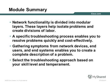© 2005 Cisco Systems, Inc. All rights reserved. CIT v5.22-1 Module Summary Network functionality is divided into modular layers. These layers help isolate.