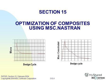 S15-1 PAT325, Section 15, February 2004 Copyright 2004 MSC.Software Corporation SECTION 15 OPTIMIZATION OF COMPOSITES USING MSC.NASTRAN.