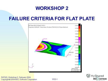 WORKSHOP 2 FAILURE CRITERIA FOR FLAT PLATE WS2-1 PAT325, Workshop 2, February 2004 Copyright 2004 MSC.Software Corporation.