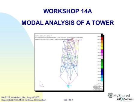 WS14a-1 WORKSHOP 14A MODAL ANALYSIS OF A TOWER NAS122, Workshop 14a, August 2005 Copyright 2005 MSC.Software Corporation.