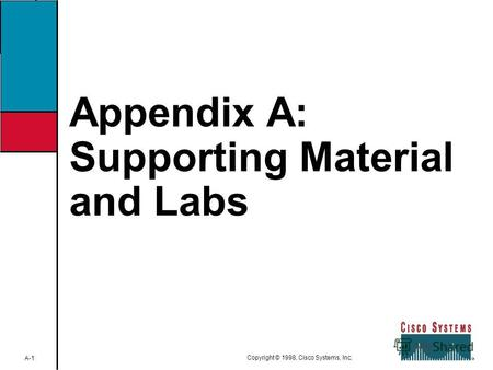 A-1CVOICESupporting Material and Labs Copyright © 1998, Cisco Systems, Inc. Appendix A: Supporting Material and Labs.