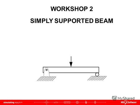 WORKSHOP 2 SIMPLY SUPPORTED BEAM. WS2-2 NAS120, Workshop 2, May 2006 Copyright 2005 MSC.Software Corporation.