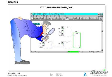 Date:29.09.2014 File:PRO1_12E.1 SIMATIC S7 Siemens AG 1999. All rights reserved. Information and Training Center Knowledge for Automation Устранение неполадок.