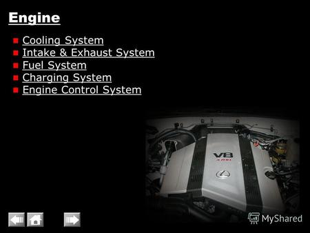 Engine Cooling System Intake & Exhaust System Fuel System Charging System Engine Control System.