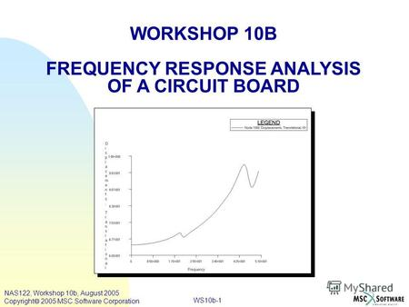 WS10b-1 WORKSHOP 10B FREQUENCY RESPONSE ANALYSIS OF A CIRCUIT BOARD NAS122, Workshop 10b, August 2005 Copyright 2005 MSC.Software Corporation.