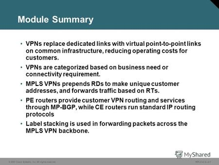 © 2005 Cisco Systems, Inc. All rights reserved. MPLS v2.24-1 Module Summary VPNs replace dedicated links with virtual point-to-point links on common infrastructure,