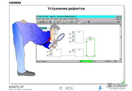 Date:29.09.2014 File:PRO1_12E.1 SIMATIC S7 Siemens AG 1999. All rights reserved. Information and Training Center Knowledge for Automation Устранение дефектов.