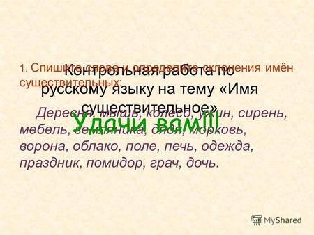 Презентация на тему Русский язык Определи склонения имён  Контрольная работа по русскому языку на тему Имя существительное 1 Спишите слова и