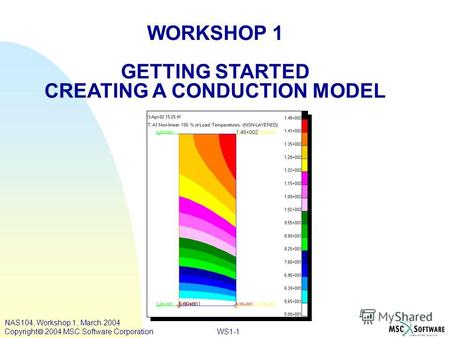 WORKSHOP 1 GETTING STARTED CREATING A CONDUCTION MODEL WS1-1 NAS104, Workshop 1, March 2004 Copyright 2004 MSC.Software Corporation.