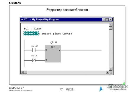 Date:29.09.2014 File:PRO1_05E.1 SIMATIC S7 Siemens AG 1999. All rights reserved. Information and Training Center Knowledge for Automation Редактирование.