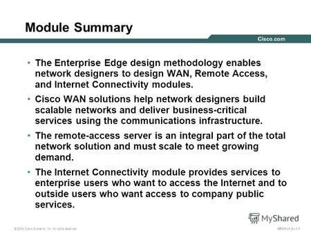 © 2004 Cisco Systems, Inc. All rights reserved. ARCH v1.21-1 Module Summary The Enterprise Edge design methodology enables network designers to design.