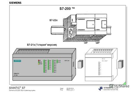 Date:29.09.2014 File:PRO1_01r.1 SIMATIC ® S7 Siemens AG 2003. Все права защищены. SITRAIN Training for Automation and Drives S7-200 EM 221 DI 8 x DC24V.