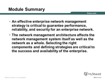 © 2004 Cisco Systems, Inc. All rights reserved. ARCH v1.24-1 Module Summary An effective enterprise network management strategy is critical to guarantee.