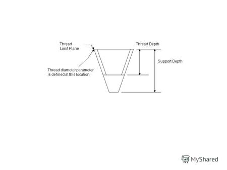 Thread Limit Plane Support Depth Thread Depth Thread diameter parameter is defined at this location.