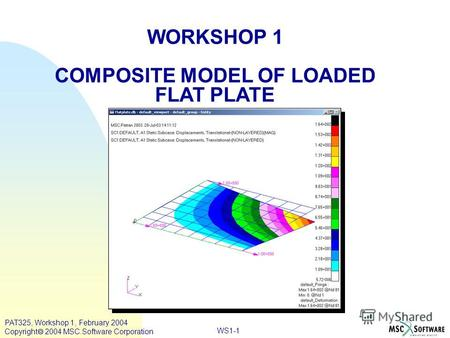 WORKSHOP 1 COMPOSITE MODEL OF LOADED FLAT PLATE WS1-1 PAT325, Workshop 1, February 2004 Copyright 2004 MSC.Software Corporation.