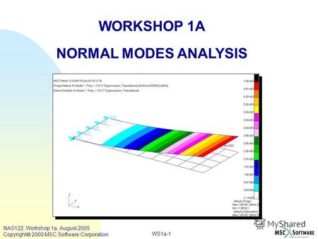 WS1a-1 WORKSHOP 1A NORMAL MODES ANALYSIS NAS122, Workshop 1a, August 2005 Copyright 2005 MSC.Software Corporation.