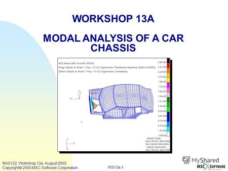 WS13a-1 WORKSHOP 13A MODAL ANALYSIS OF A CAR CHASSIS NAS122, Workshop 13a, August 2005 Copyright 2005 MSC.Software Corporation.