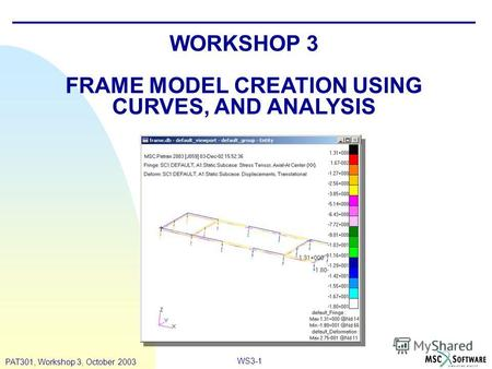 WS3-1 PAT301, Workshop 3, October 2003 WORKSHOP 3 FRAME MODEL CREATION USING CURVES, AND ANALYSIS.