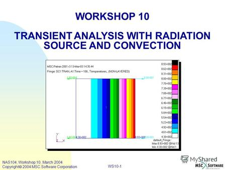 WS10-1 WORKSHOP 10 TRANSIENT ANALYSIS WITH RADIATION SOURCE AND CONVECTION NAS104, Workshop 10, March 2004 Copyright 2004 MSC.Software Corporation.