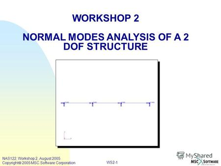 WS2-1 WORKSHOP 2 NORMAL MODES ANALYSIS OF A 2 DOF STRUCTURE NAS122, Workshop 2, August 2005 Copyright 2005 MSC.Software Corporation.