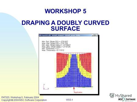 WORKSHOP 5 DRAPING A DOUBLY CURVED SURFACE WS5-1 PAT325, Workshop 5, February 2004 Copyright 2004 MSC.Software Corporation.