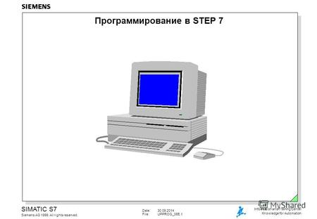 Date:30.09.2014 File:UPPROG 06E.1 SIMATIC S7 Siemens AG 1999. All rights reserved. Information and Training Center Knowledge for Automation Программирование.