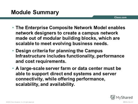 © 2004 Cisco Systems, Inc. All rights reserved. ARCH v1.21-1 Module Summary The Enterprise Composite Network Model enables network designers to create.