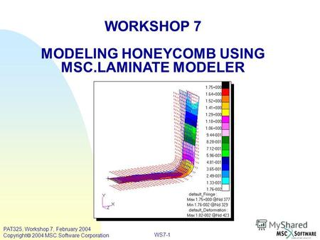 WORKSHOP 7 MODELING HONEYCOMB USING MSC.LAMINATE MODELER WS7-1 PAT325, Workshop 7, February 2004 Copyright 2004 MSC.Software Corporation.