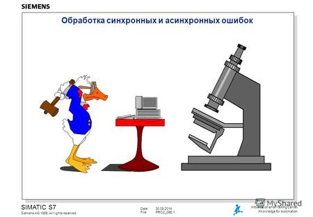 Date:30.09.2014 File:PRO2_08E.1 SIMATIC S7 Siemens AG 1999. All rights reserved. Information and Training Center Knowledge for Automation Обработка cинхронных.