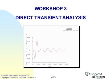 WS3-1 WORKSHOP 3 DIRECT TRANSIENT ANALYSIS NAS122, Workshop 3, August 2005 Copyright 2005 MSC.Software Corporation.