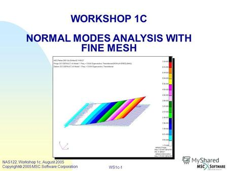 WS1c-1 WORKSHOP 1C NORMAL MODES ANALYSIS WITH FINE MESH NAS122, Workshop 1c, August 2005 Copyright 2005 MSC.Software Corporation.