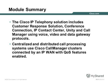 © 2004 Cisco Systems, Inc. All rights reserved. ARCH v1.211-1 Module Summary The Cisco IP Telephony solution includes Customer Response Solution, Conference.