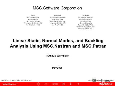 Copyright 2006 MSC.Software Corporation Linear Static, Normal Modes, and Buckling Analysis Using MSC.Nastran and MSC.Patran May 2006 NAS120 Workbook Part.