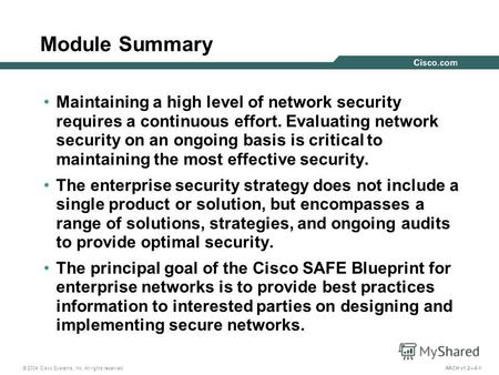 © 2004 Cisco Systems, Inc. All rights reserved. ARCH v1.26-1 Module Summary Maintaining a high level of network security requires a continuous effort.