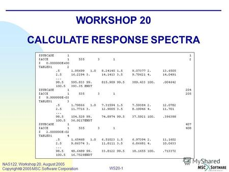 WS20-1 NAS122, Workshop 20, August 2005 Copyright 2005 MSC.Software Corporation WORKSHOP 20 CALCULATE RESPONSE SPECTRA.